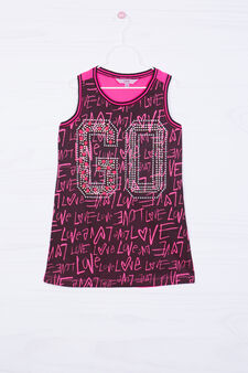 All-over print top, Black/Pink, hi-res