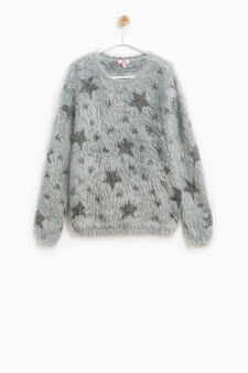 Faux fur pullover with lurex stars, Grey, hi-res