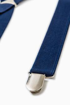 Solid colour braces with clip, Navy Blue, hi-res