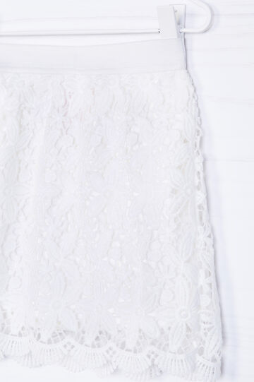 Skirt with openwork design, White, hi-res