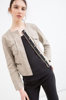 100% cotton jacket with buttons and zip, Sand, hi-res