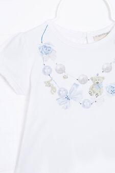 T-shirt stretch con stampa, Bianco, hi-res