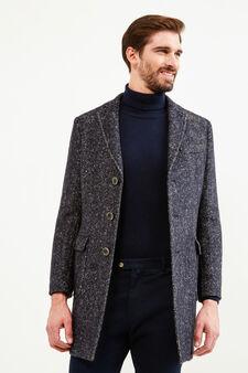 Rumford coat in wool with half-belt, Blue, hi-res