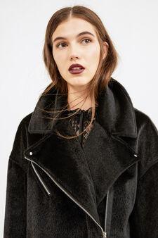 Fur jacket with lapels, Black, hi-res