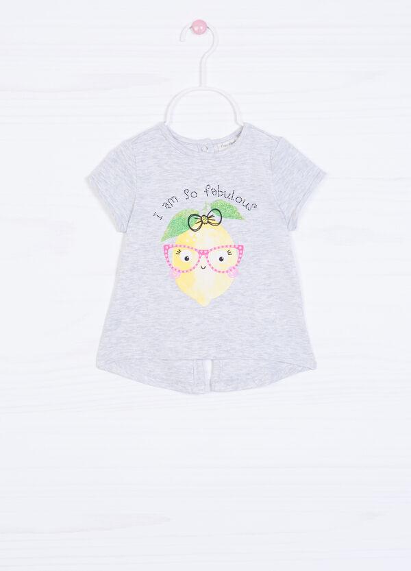 T-shirt cotone con stampa e strass | OVS