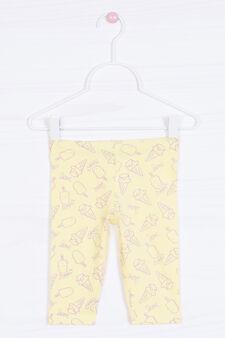 Pantaloni cotone stretch fantasia, Giallo, hi-res