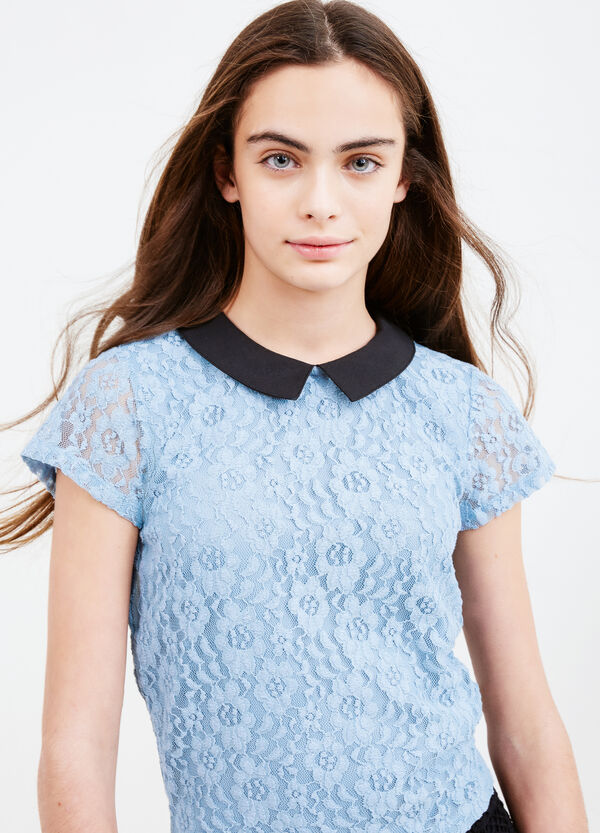 Teen T-shirt in lace with collar | OVS
