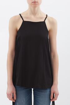 100% cotton top with fringe, Black, hi-res