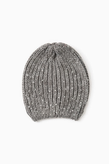 Knitted beanie cap with diamantés, Grey Marl, hi-res