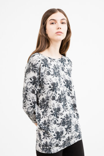 Cotton blend pullover with floral print, Black/Grey, hi-res
