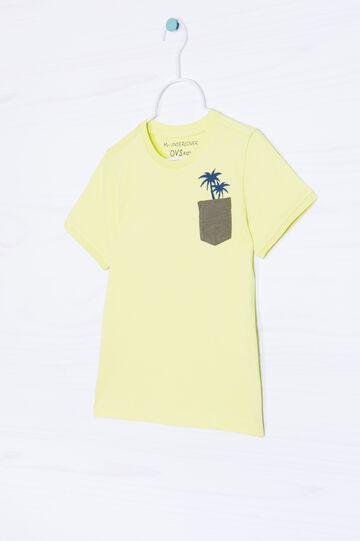 T-shirt cotone taschino e stampa, Giallo, hi-res