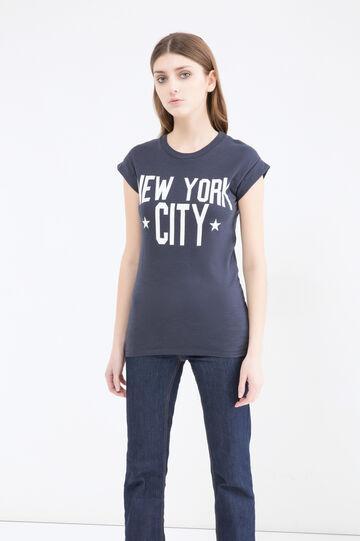T-shirt cotone maniche aletta, Blu, hi-res