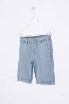 Solid colour 100% cotton Bermuda shorts, Petrol Blue, hi-res