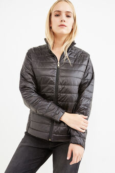 Curvy solid colour down jacket with high neck, Black, hi-res