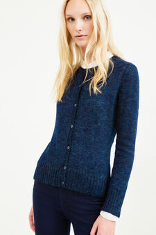 Mohair wool and viscose blend cardigan, Blue, hi-res