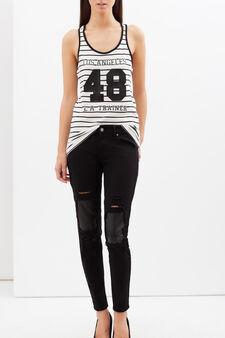 Striped vest, White/Black, hi-res