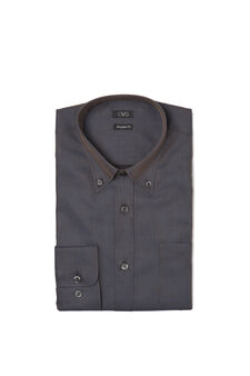 Patterned shirt with button-down collar, Dark Brown, hi-res