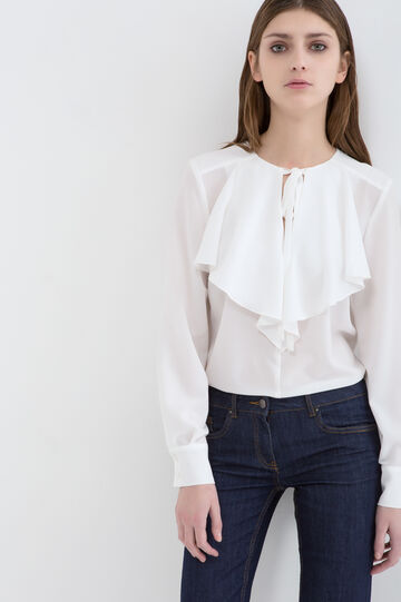 Blouse with flounces., White, hi-res