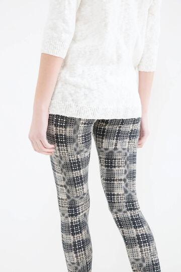 Stretch cotton patterned leggings, Multicolour, hi-res