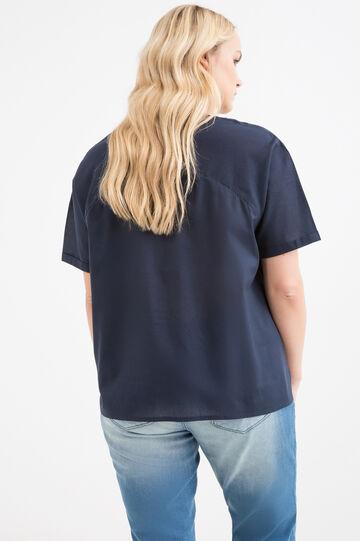 Curvy solid colour 100% cotton blouse, Navy Blue, hi-res