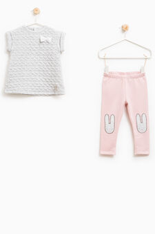Stretch outfit with rabbit patch, Grey/Pink, hi-res