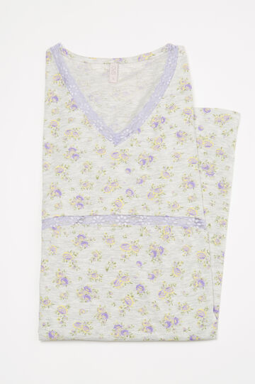 100% cotton floral nightshirt, Grey Marl, hi-res