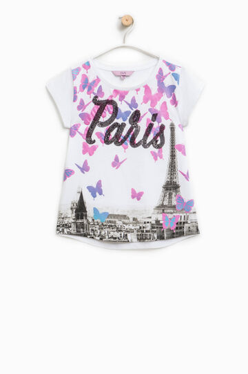 T-shirt in cotone stampa glitterata, Bianco/Rosa, hi-res