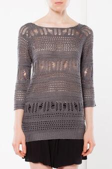 Openwork knit sweater, Grey, hi-res
