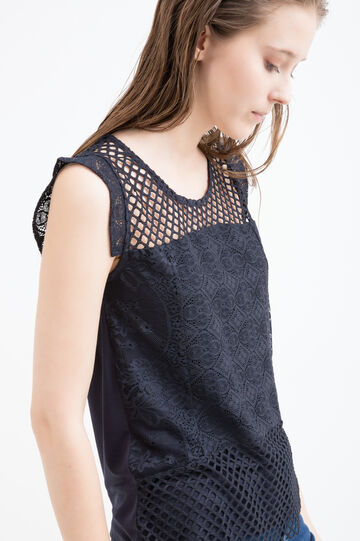 Viscose top with openwork insert, Navy Blue, hi-res