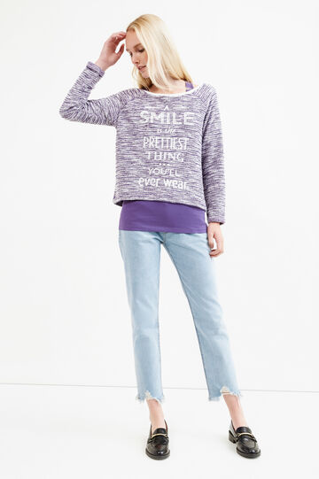 Mélange sweatshirt with internal vest top, Purple, hi-res