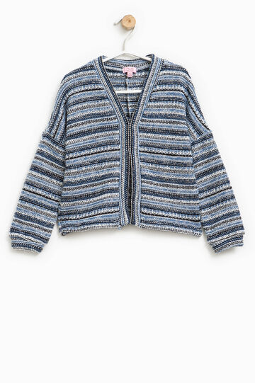 Striped chunky knit cardigan, Multicolour, hi-res
