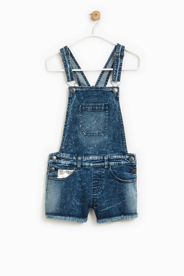 Denim dungarees with sequins, Blue, hi-res