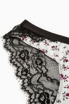 Stretch briefs with floral pattern, Cream White, hi-res