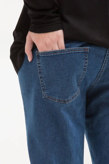Curvy stretch jeans with turn-ups., Blue, hi-res