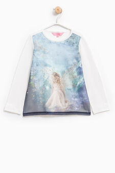 Stretch T-shirt with maxi print, Milky White, hi-res