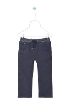 Twill trousers with drawstring, Navy Blue, hi-res