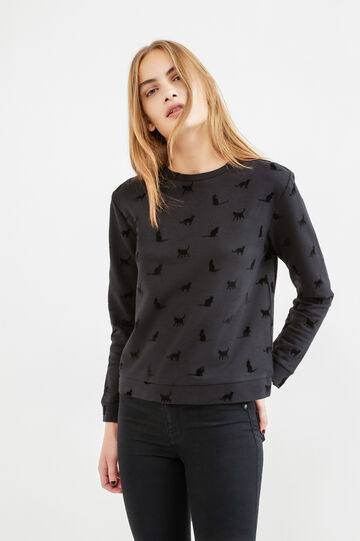 Round neck cotton sweatshirt with print, Black, hi-res