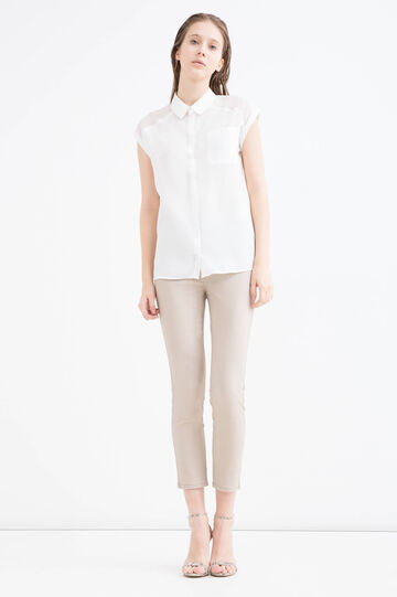 Plain stretch trousers, Khaki, hi-res