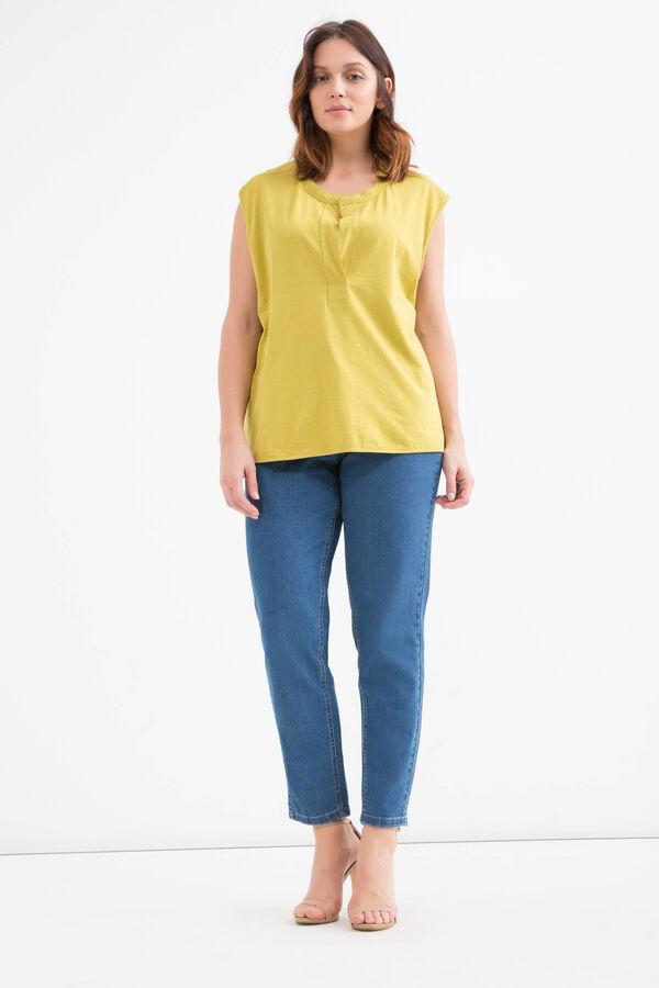 Curvy solid colour cotton T-shirt. | OVS