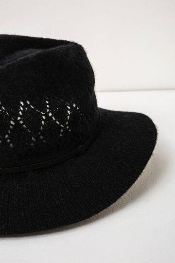 Solid colour openwork wide brim hat., Black, hi-res