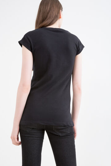 Mickey Mouse print cotton T-shirt, Black, hi-res