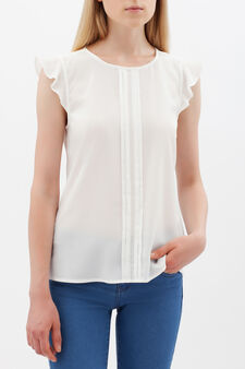 Blouse with teardrop opening, White, hi-res