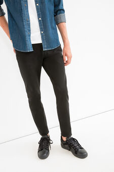 Solid colour, skinny-fit stretch trousers, Black, hi-res