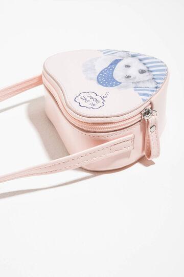Heart-shaped shoulder bag with print, Pink, hi-res