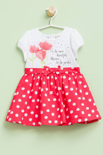 Dress with polka dot skirt, White/Red, hi-res