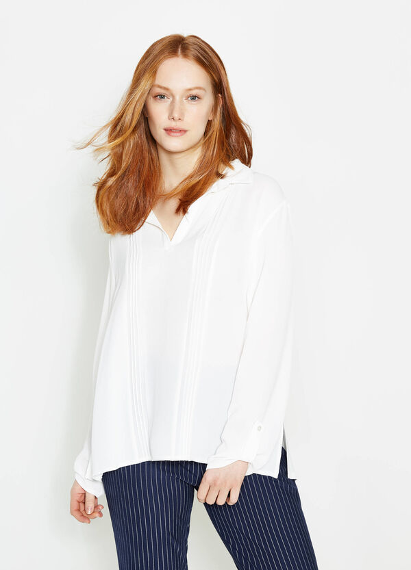 Curvy blouse in pleated crêpe | OVS