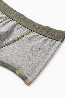 Camouflage stretch cotton boxer shorts, Grey Marl, hi-res