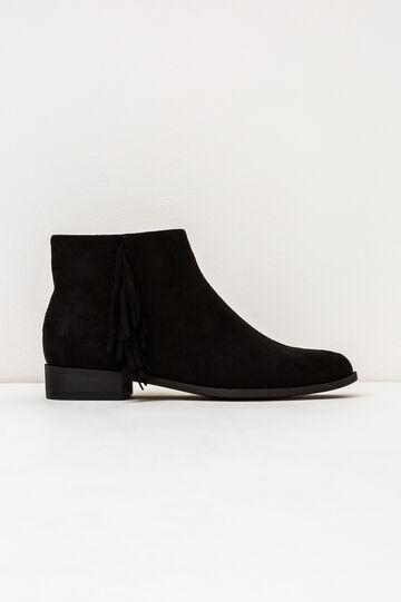 Suede ankle boots with fringe, Black, hi-res