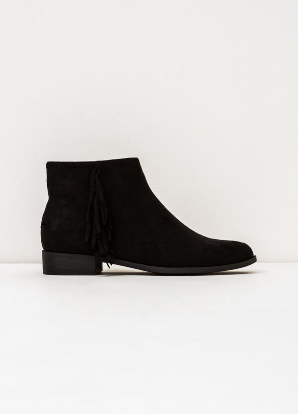 Suede ankle boots with fringe | OVS
