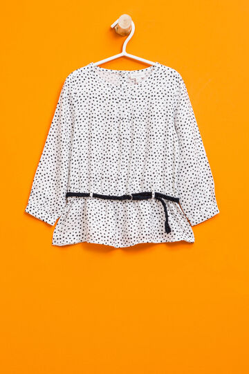 Blouse with polka dot pattern and belt, White/Blue, hi-res